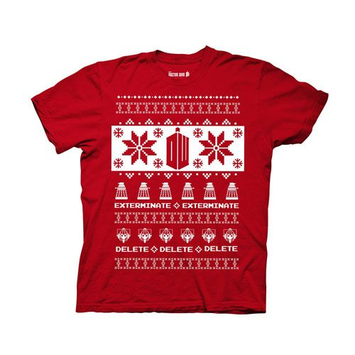 Doctor Who Villains Red Ugly Christmas Sweater T-Shirt | Doctor ...