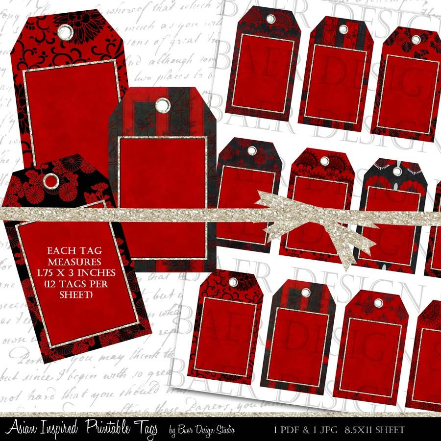 Gift Tags, Black and Red Printable Tags, Jewelry Cards, Chinese New Year Printable Tags, Thank You Tags, Wedding Favor Tags, #16210 by BaerDesignStudio on Etsy