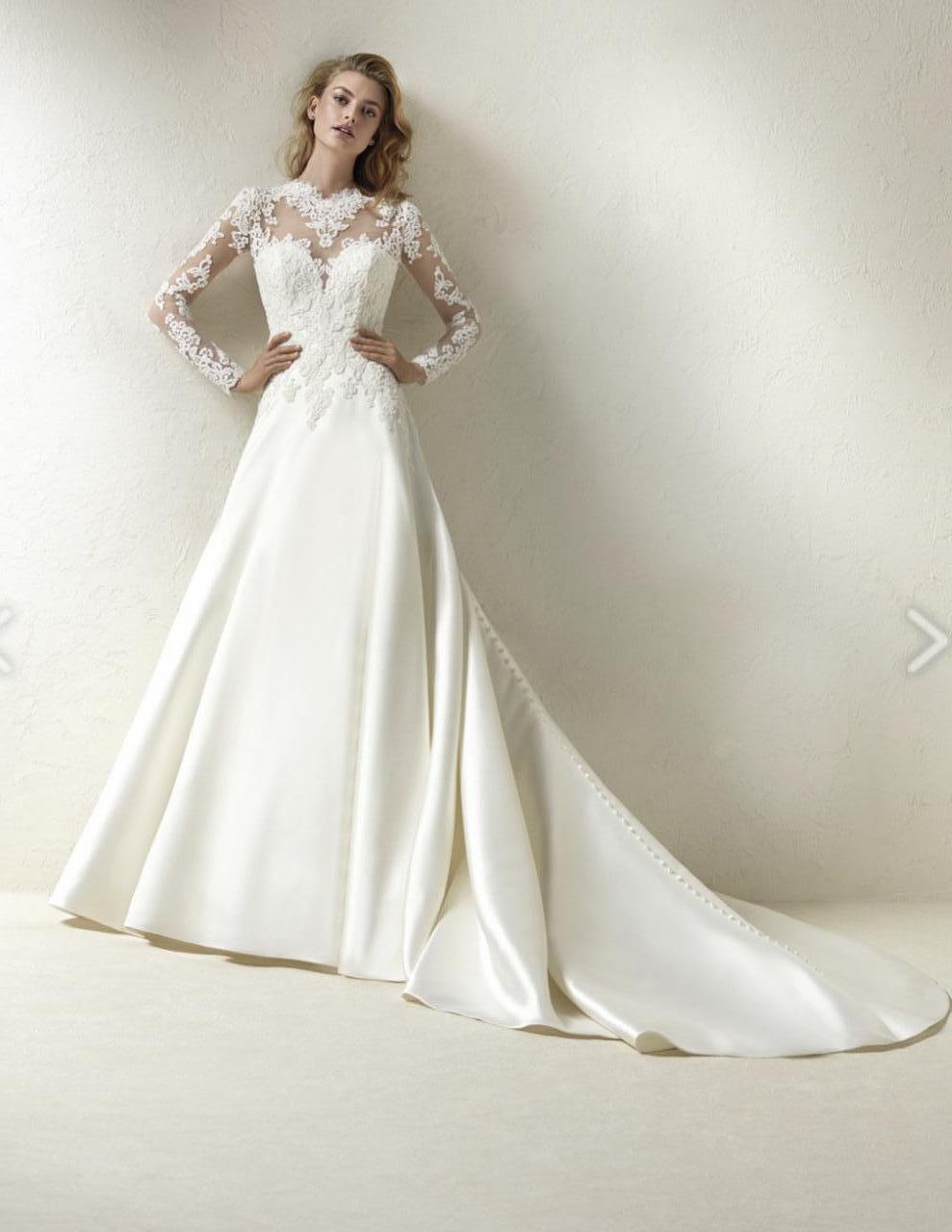 Pronovias Draga Ivory Bridal Dress Size 12 For Sale Price