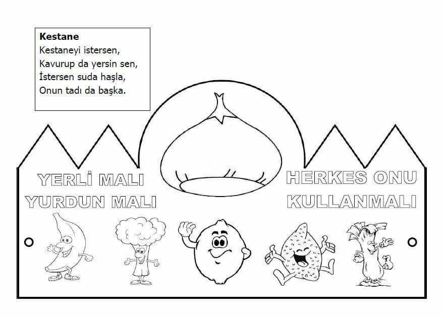 Yerli Malı Okuooncesi Coloring Pages Preschool Ve Fethiye
