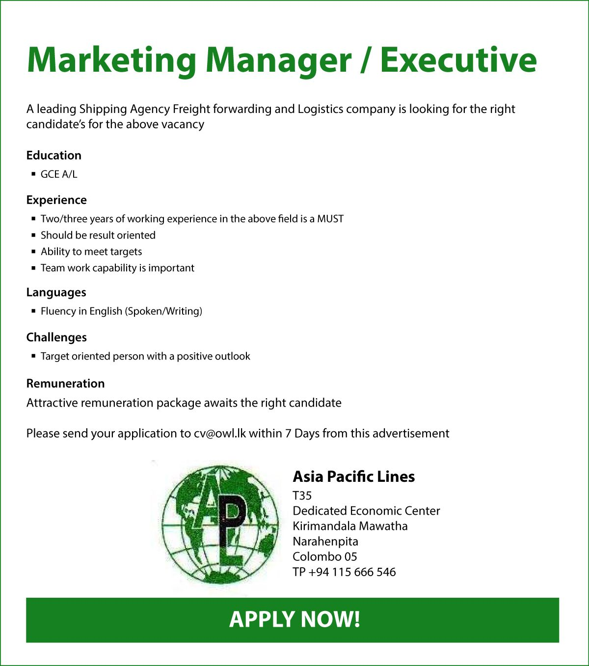 Marketing Manager  Executive At Asia Pacific Lines  Career First