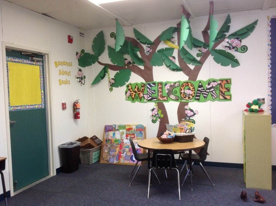 Classroom Design Ideas creating a cozy classroom Amazing Kindergarten Classroom Design Ideas With Small Round Table And Chairs Also Jungle Wall Decor Paper