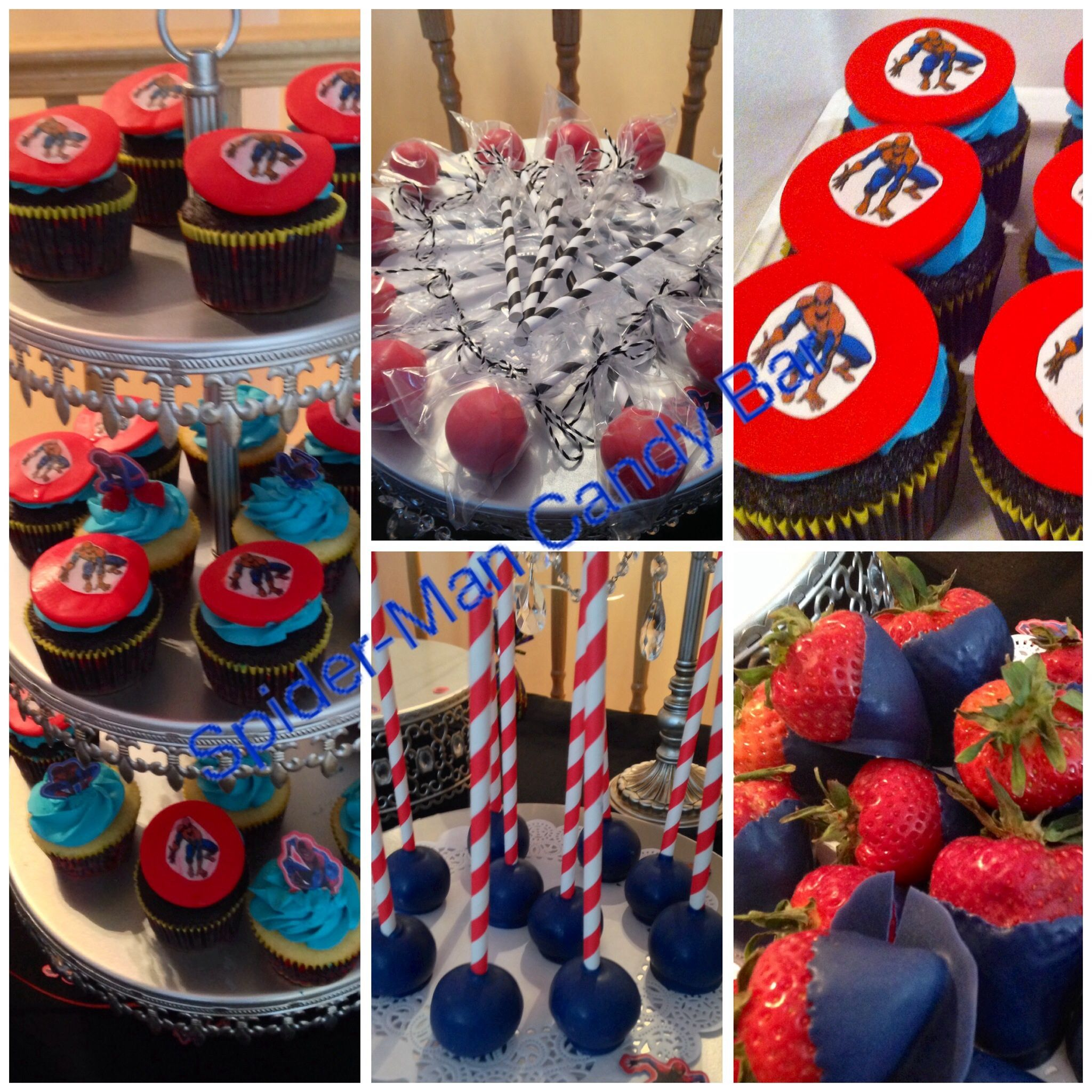 Spider Man Birthday Theme Candy Bar Cake Pops And