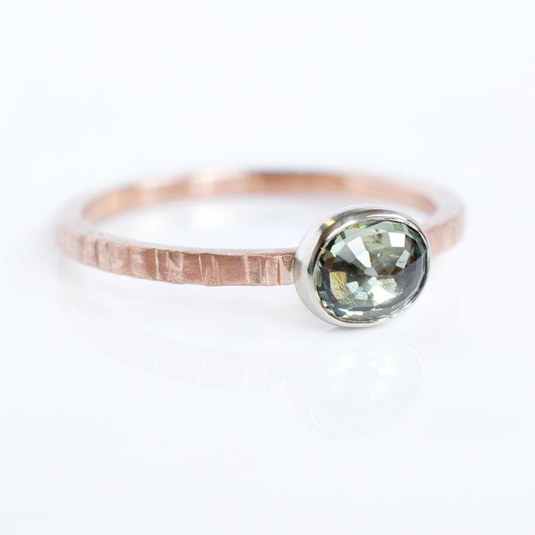 green rosecut sapphire 14k red rose pink gold textured band 14k grat