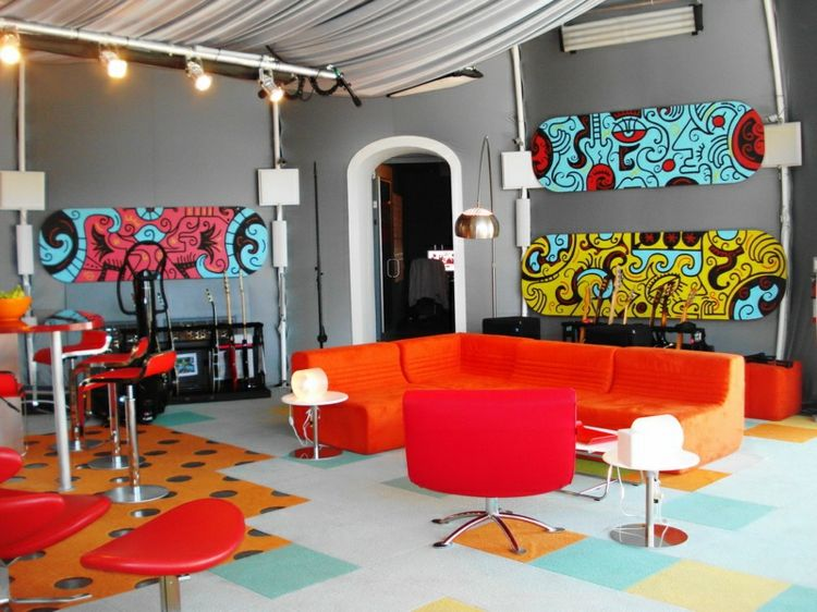 Kreative Wandgestaltung Wohnzimmer Farbige Wanddeko Ideen