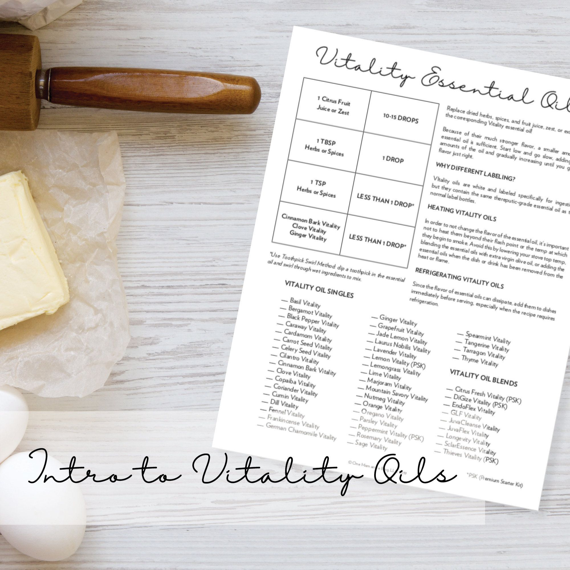 Vitality Oils Essential Oil Inventory Tracker Cooking