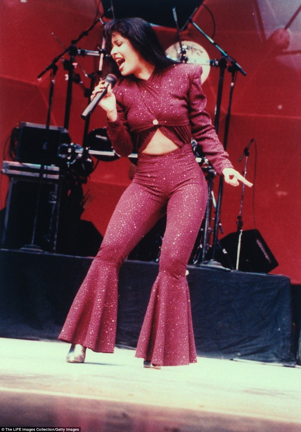 928f6ca5bba The 37-year-old slipped into a costume reminiscent of Selena s now iconic  purple jumpsuit for a dance routine captured on Snapchat.