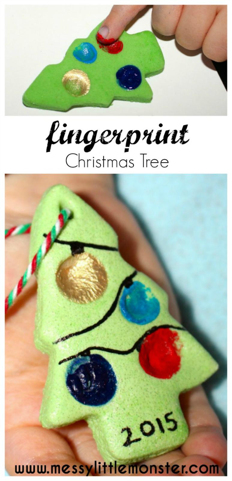 Fingerabdruck-Weihnachtsbaum - Salzteig-Verzierungs-Rezept
