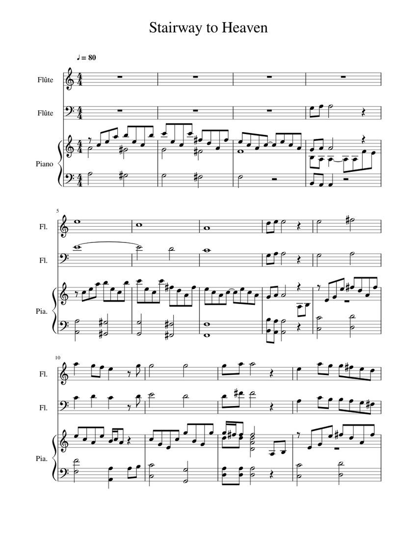 Print And Download In Pdf Or Midi Stairway To Heaven Led Zeppelin Arr J Priot Free Sheet Music For Stairway To Heaven Starway To Heaven Free Sheet Music