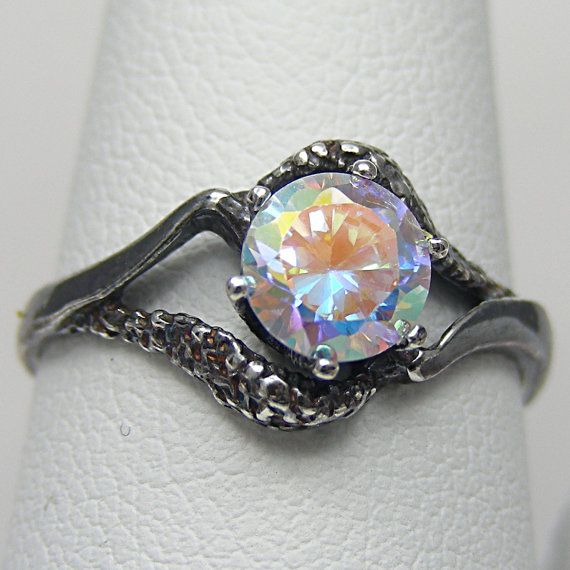 Gothic Engagement Ring Celestial Sky Mystic Fire Ice 1ct Eye Of Isis