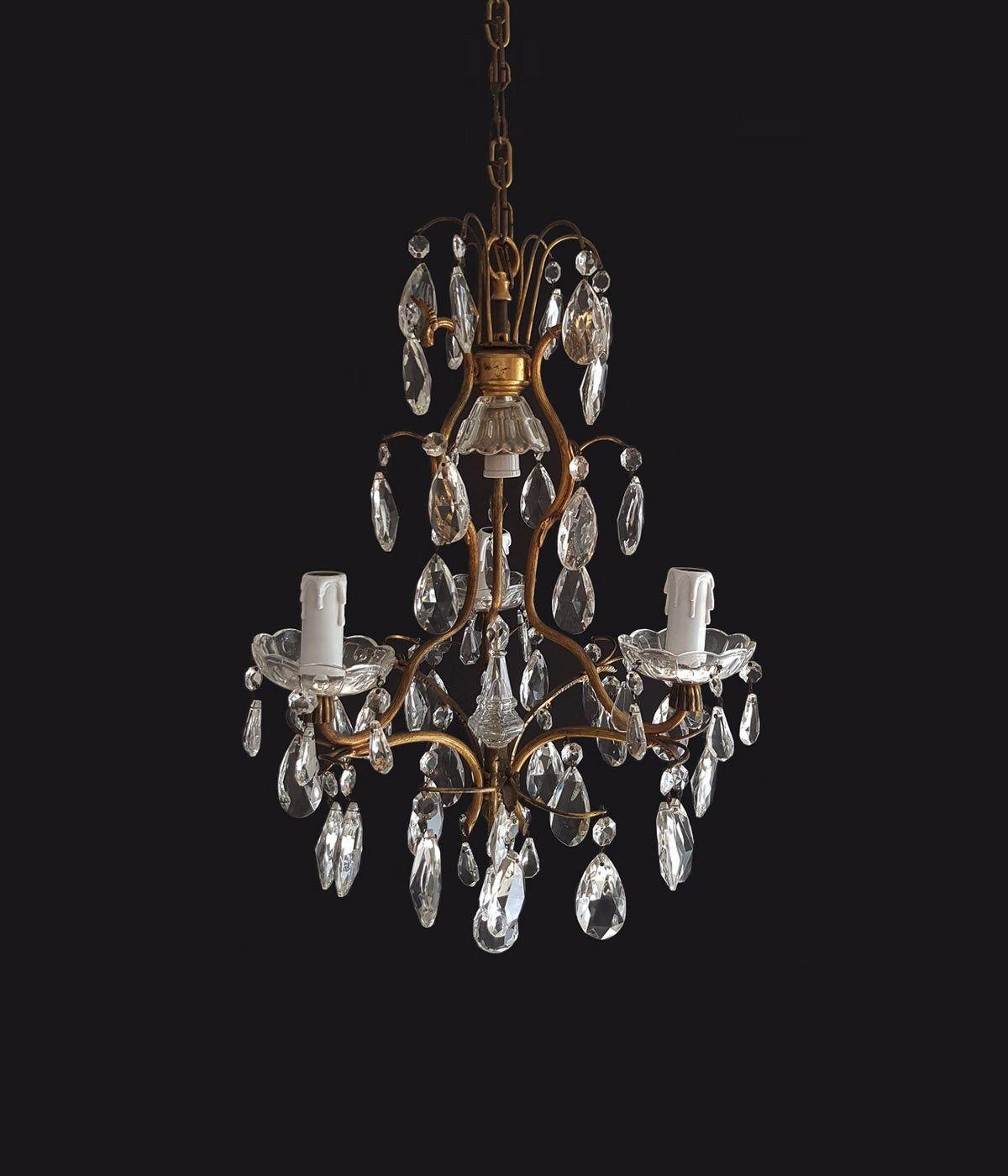 Antique Italian Crystal Chandelier 4 Lights Rococo Style Crystal