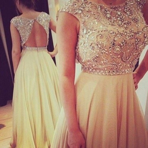 Image of Champagne Chiffon round neckline Backless Long Prom Dresses, Evening Dress