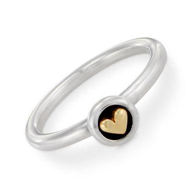 pandora heart ring silver and gold
