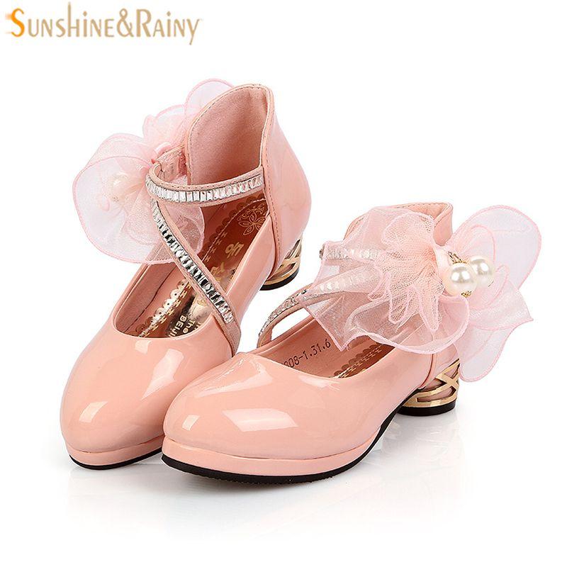 0201807d8 Niños Zapatos Para Niñas Zapatos De Tacón Alto de LA PU de Cuero Grande  Lentejuelas de flores Princesa de Las Muchachas Zapatos De La Boda Del  Partido Niños ...