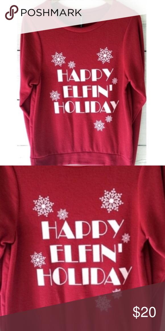 Last 1 Happy Elfin Holiday Christmas Sweater Sm Boutique My Posh