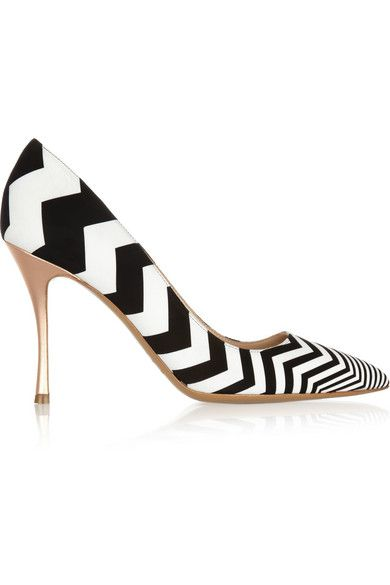 Zigzag suede and leather pumps