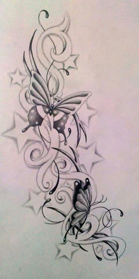 Tribal Butterfly Star Tattoos Star Tattoo Designs Flower Tattoos