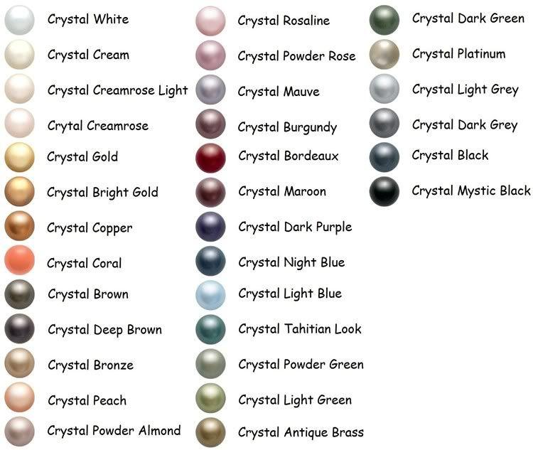 Swarovski Crystal Pearl Color Chart Swarovski Beads Swarovski Pearls Crystal Pearls