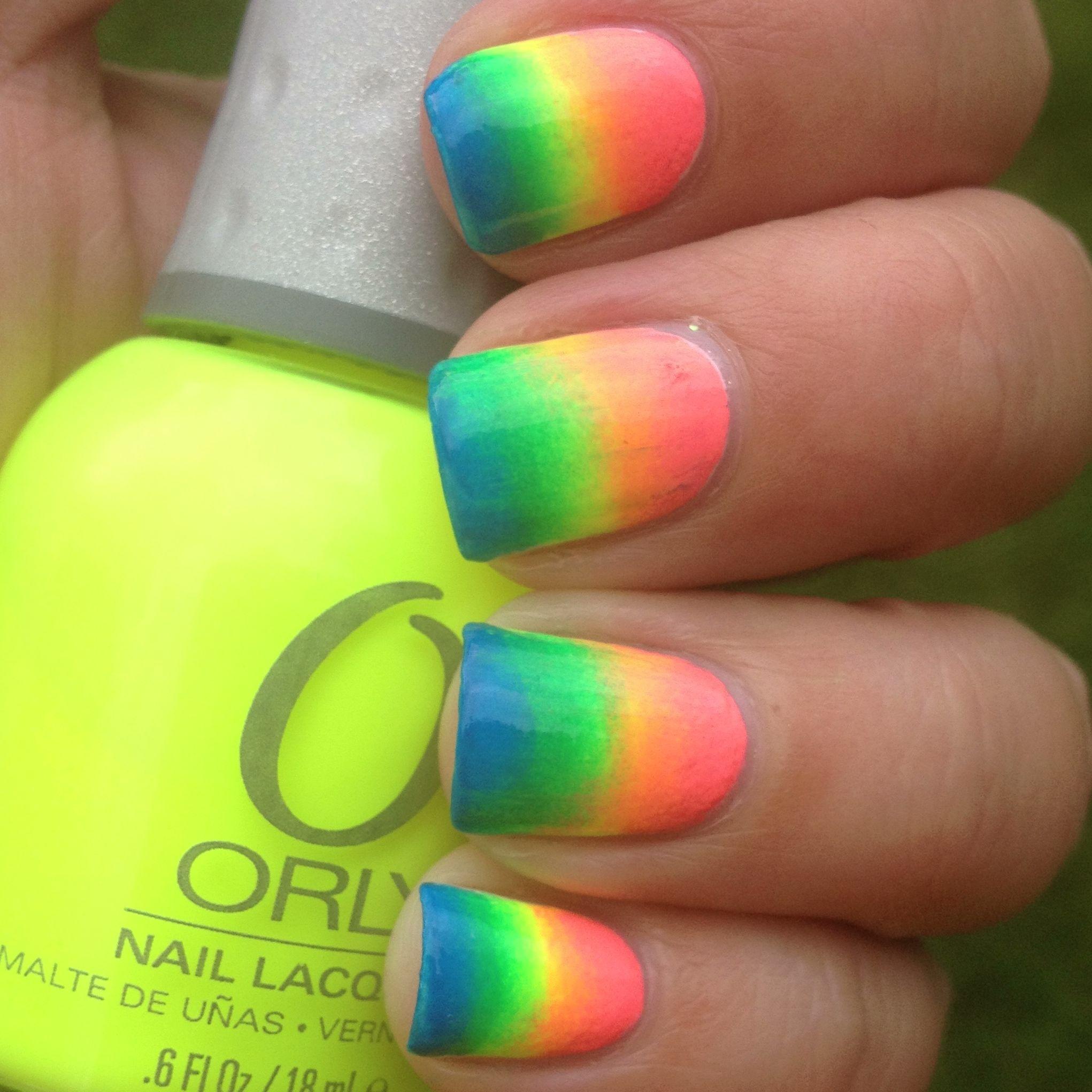 Rainbow Neon nails video