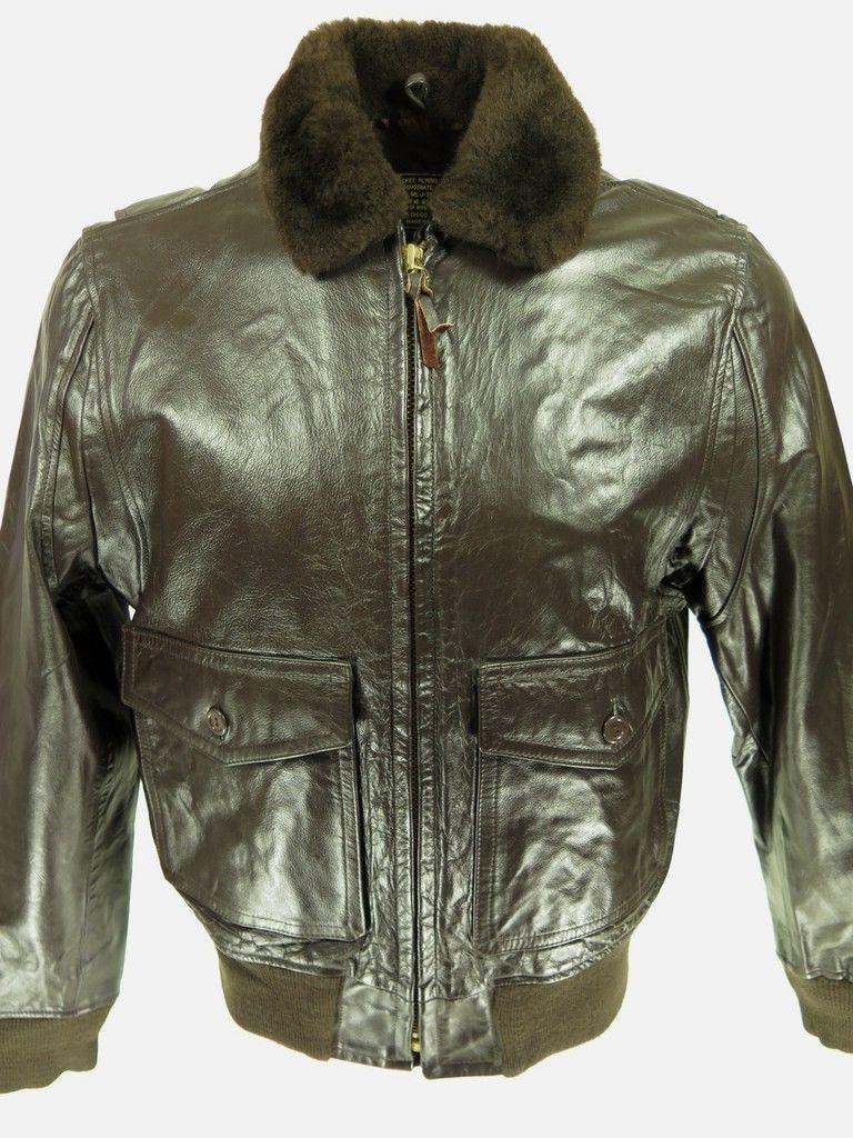 Vtg 80s Type G 1 Brown Leather Mouton Fur Flight Bomber Jacket 44 USA Deadstock   eBay