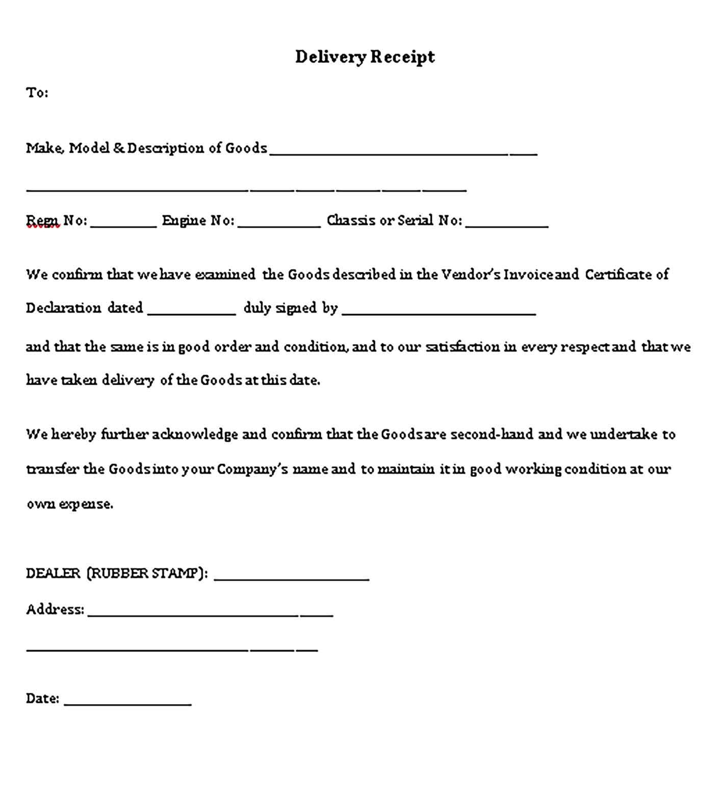 Delivery Receipt Template Printable