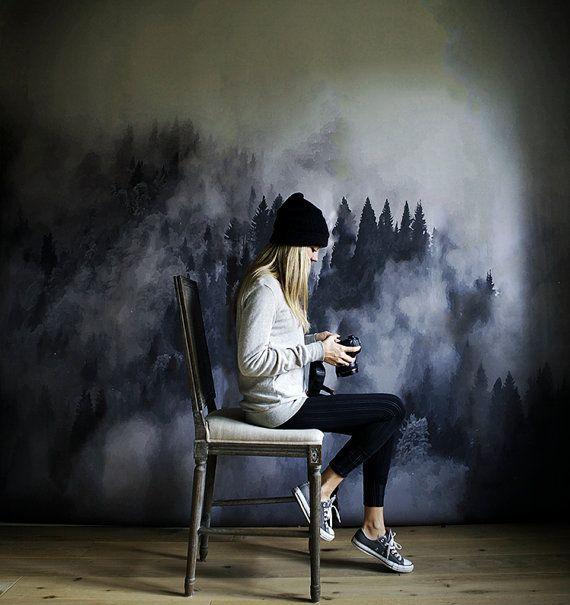 foggy hills mural black and white wallpaper trees mural tapeten pinterest tapeten. Black Bedroom Furniture Sets. Home Design Ideas