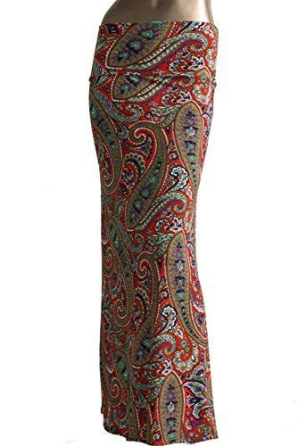 Azules Printed Design Maxi Skirt-made in USA