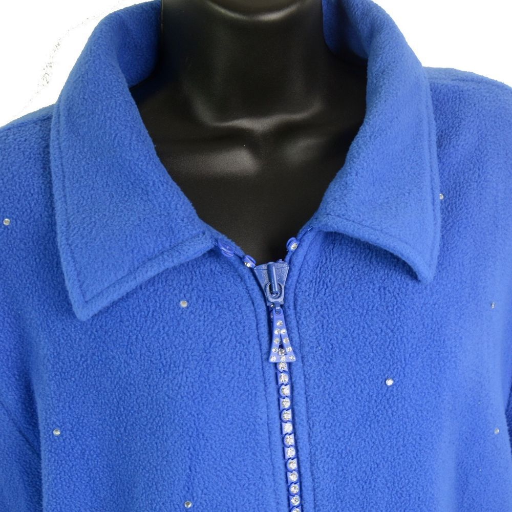 Quacker factory sparkle u shine zip front fleece jacket coat royal