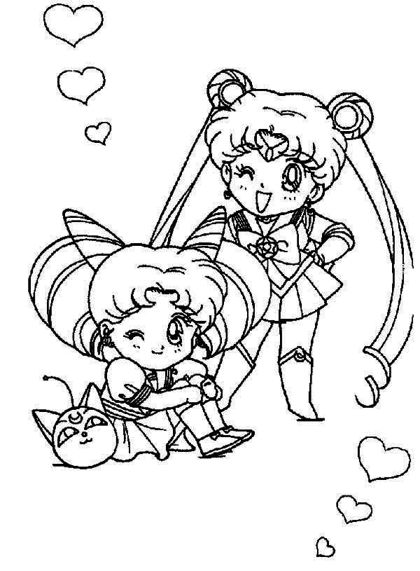 Sailor Moon, : Sailor Moon and Sailor Chibi Moon Coloring Page ...