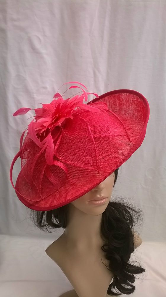 New Hot Cerise Sinamay Feather Hatinator Hat Saucer Disc Wedding Races