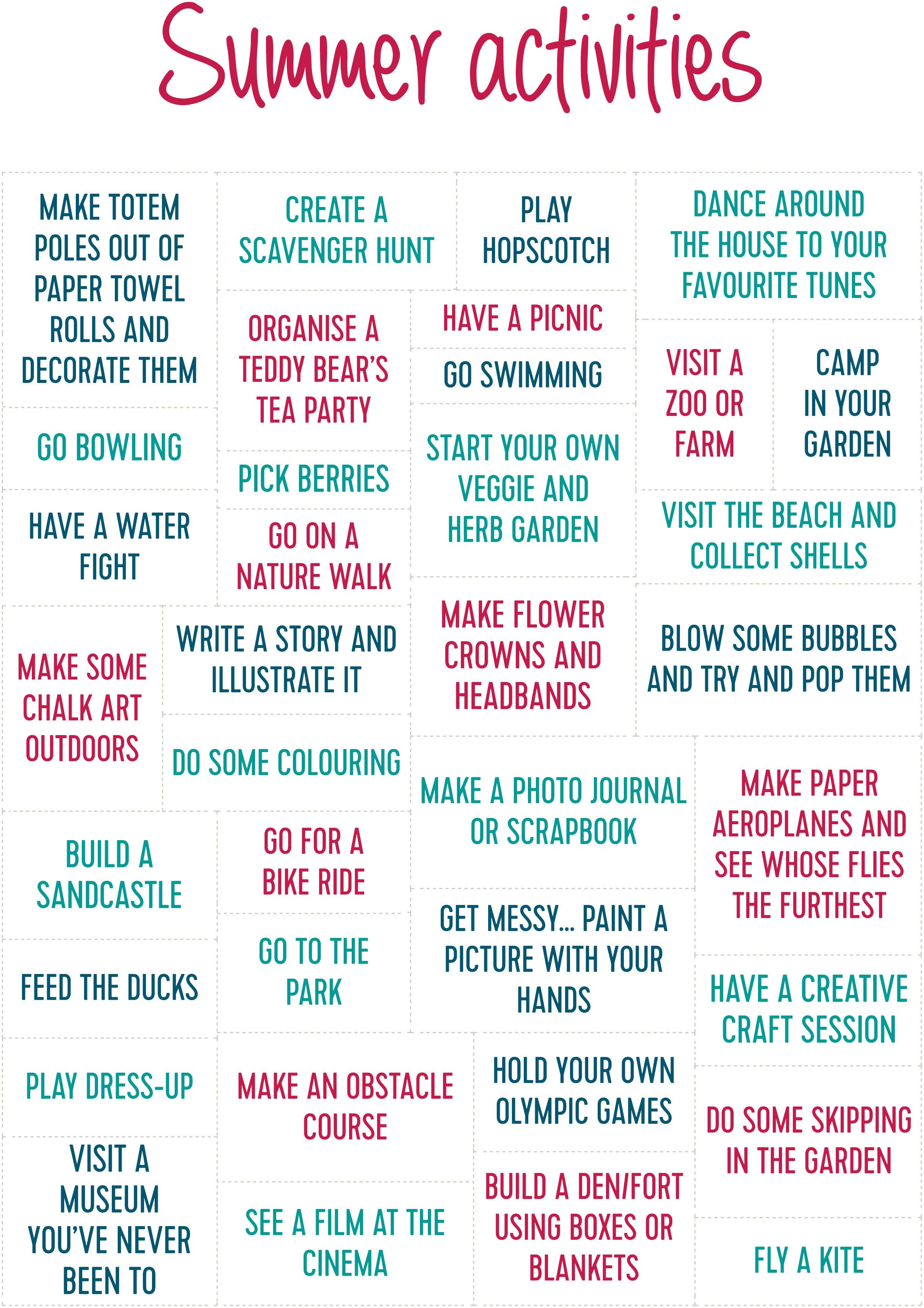 50 Activities To Keep The Kids Busy This Summer
