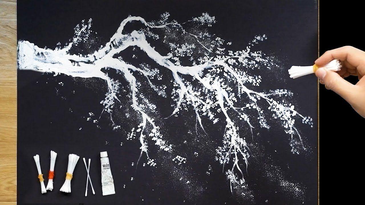Cotons Tiges Techniques Faciles De Peinture Des Arbres Pour Les Debutants Tree Painting Painting Techniques Abstract Tree Painting
