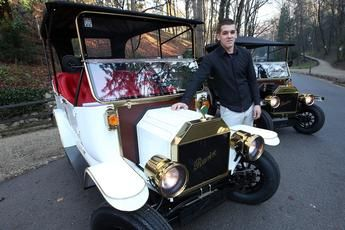 Romantic Drive With Electric Oldtimer Replica Of Ford Model T In