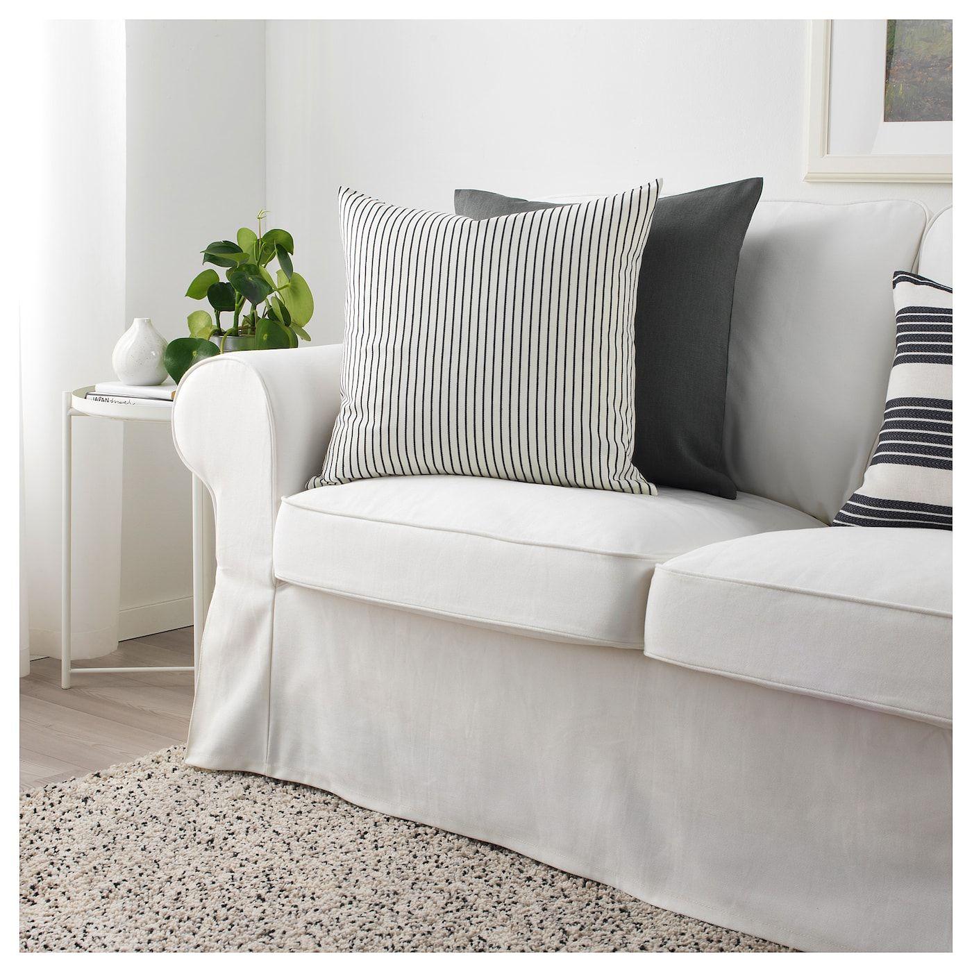 Ingalill Cushion Cover White Dark Gray Stripe Ikea Cushion Cover Cushions Grey Couch Covers