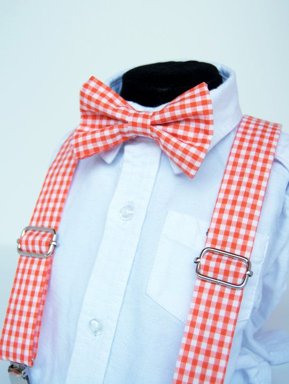 2e4f8cc17b56 Orange Gingham Bow Tie & Suspenders Set Baby by DapperGent would be really  great for an outdoor summer tangerine wedding - ring bearer outfit