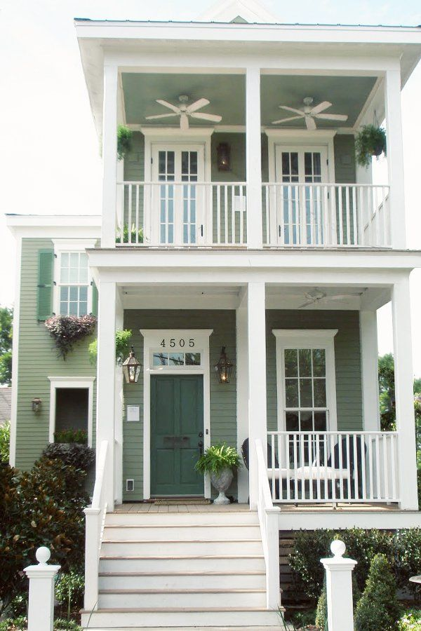 Green Cottage Living Shot Gun House New Orleans Lettered