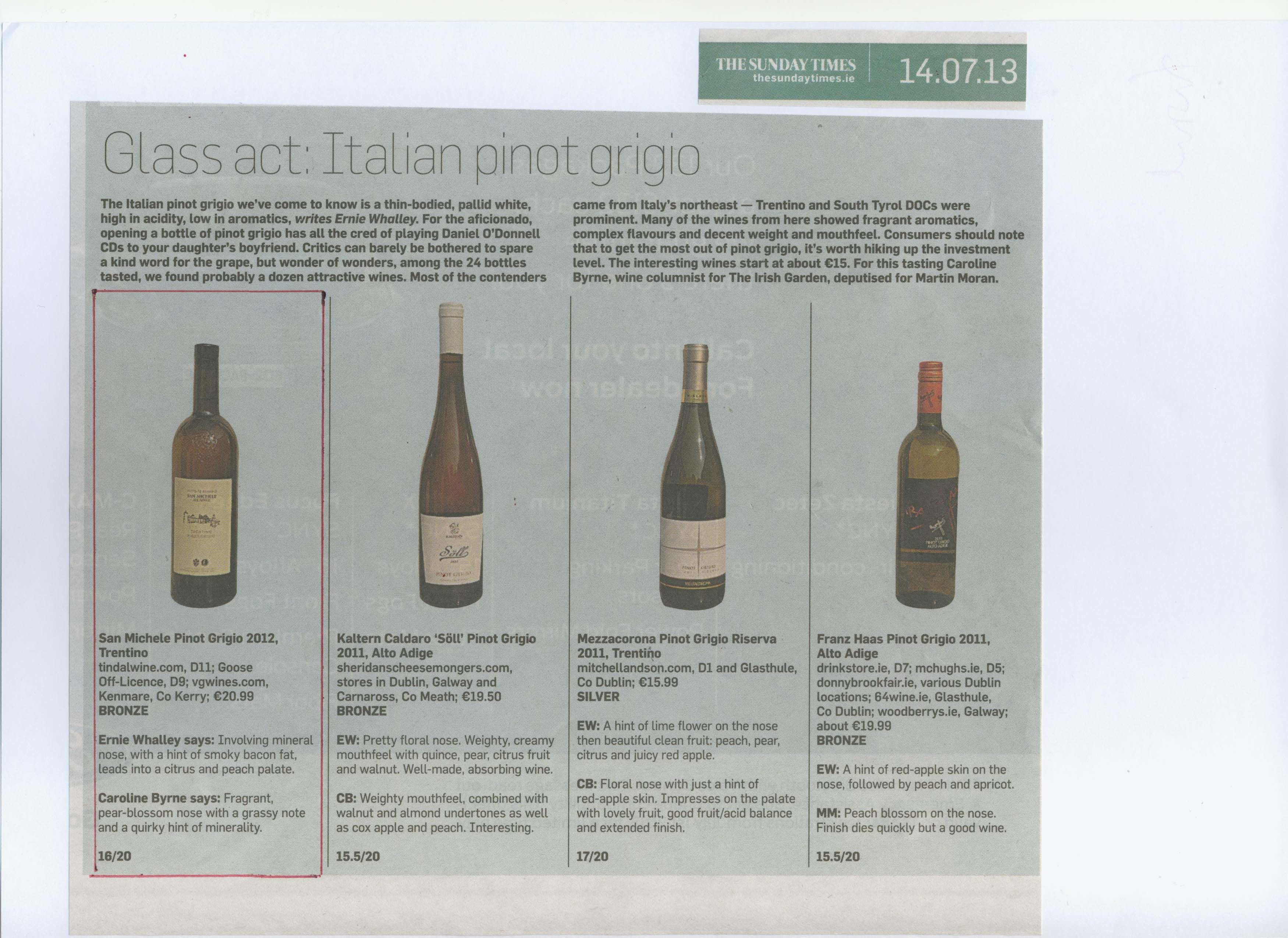 Our San Michele Pinot Grigio gains recognition in the Sunday Times this week. http://www.tindalwine.com/pinot-grigio-san-michele.html
