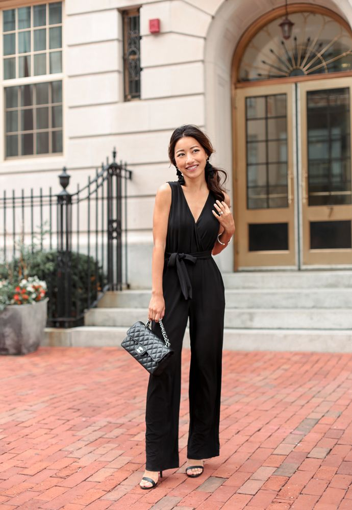 a40fbcad294bd black jumpsuit petite wedding guest outfit | style: fancy occasions ...