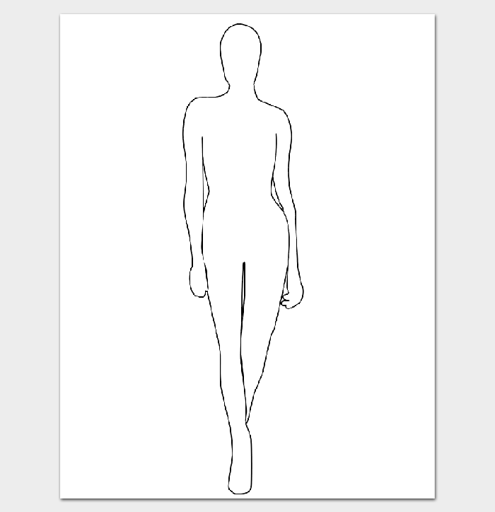 Female Fashion Body Outline  Rendering    Outlines