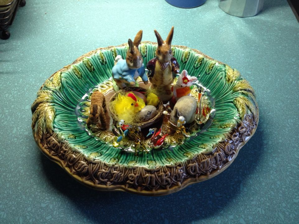 Vintage Easter scene, glass animals, rabbits and Victorian ceramic bread bowl.