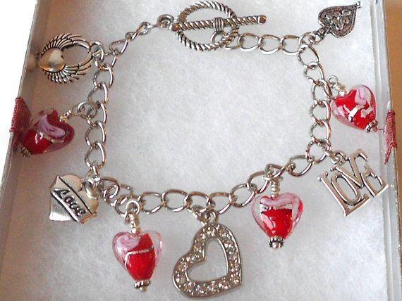 Red and Silver Hearts Charm Bracelet by LucysBeadedSplendors