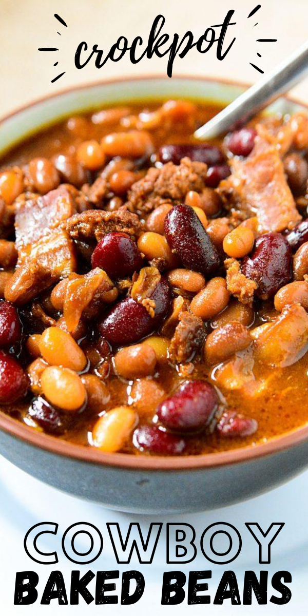 Crockpot Slow Cooker Cowboy Baked Beans Recipe With Bacon Drippings In 2020 Baked Beans Recipe Crockpot Cowboy Baked Beans Baked Beans