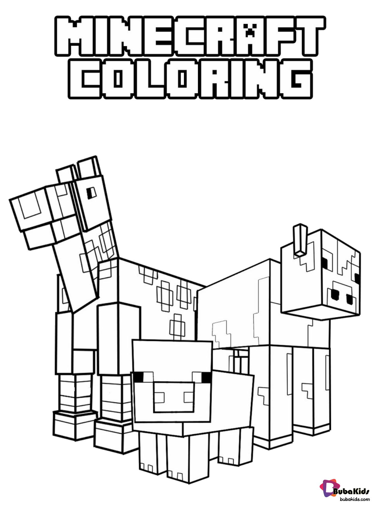 Minecraft Animals Coloring Pages Collection Of Cartoon Coloring Pages For Teenag In 2020 Minecraft Coloring Pages Printable Coloring Pages Thanksgiving Coloring Pages