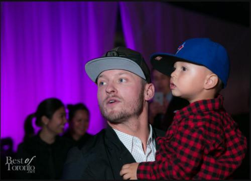Josh Donaldson with Troy Tulowitzki's son Taz