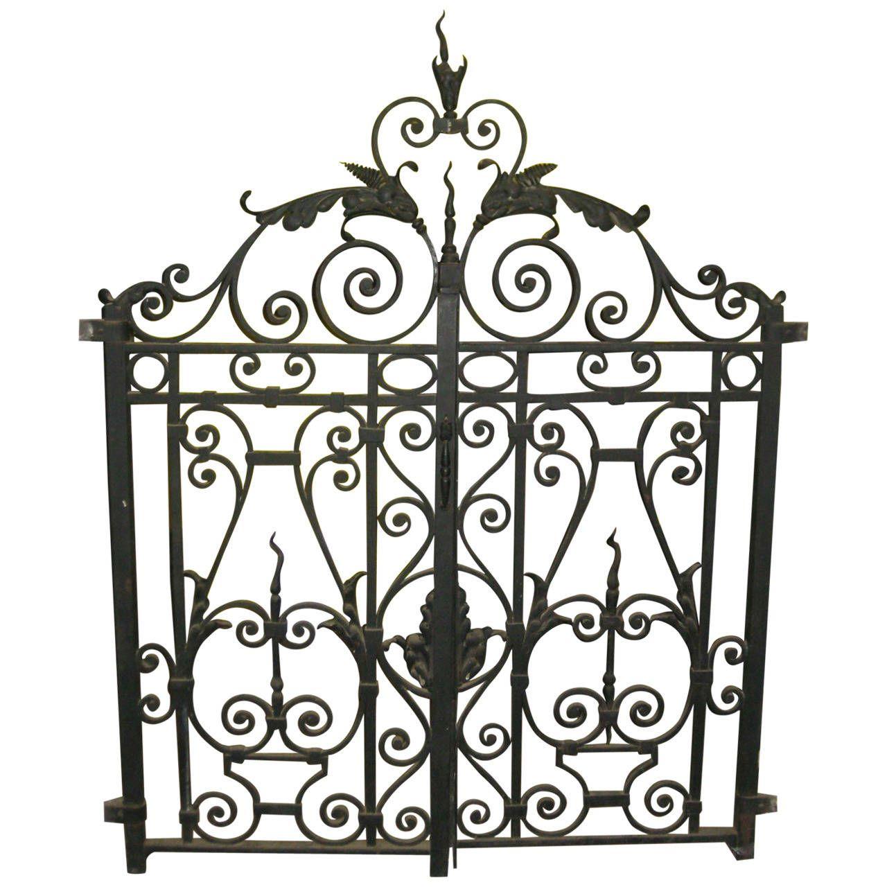 Antique French Wrought Iron Double Gates 1stdibs Com Wrought Iron Gate Designs Iron Gate Design Wrought Iron Fences