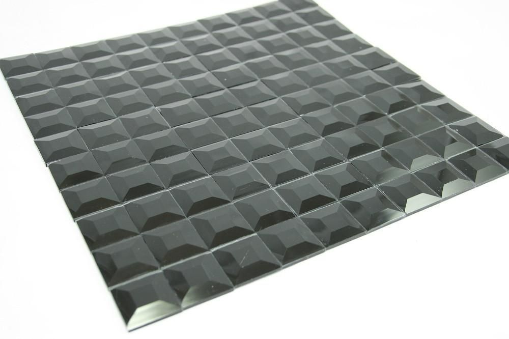 Tmg 14 Black Mirror Glass Mosaic Tile 1x1 Grid Glass Mosaic Tiles Mosaic Tiles Mosaic Glass