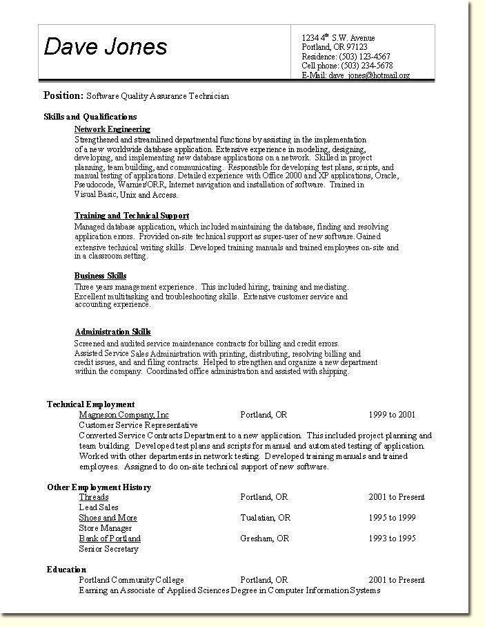 Quality Assurance Resume Template Resume examples