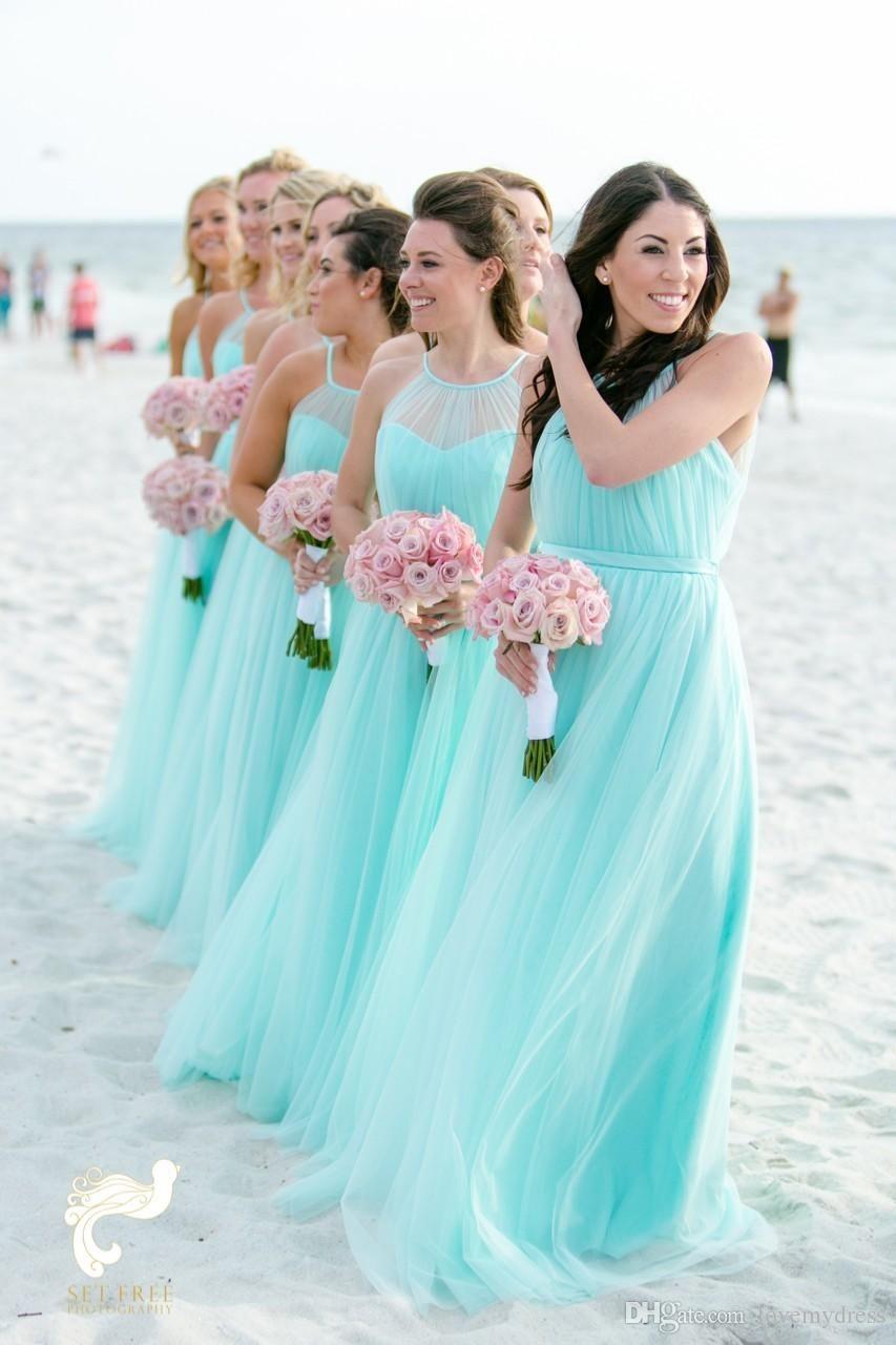 Fashion Light Turquoise Bridesmaids Dresses Plus Size Beach Tulle ...