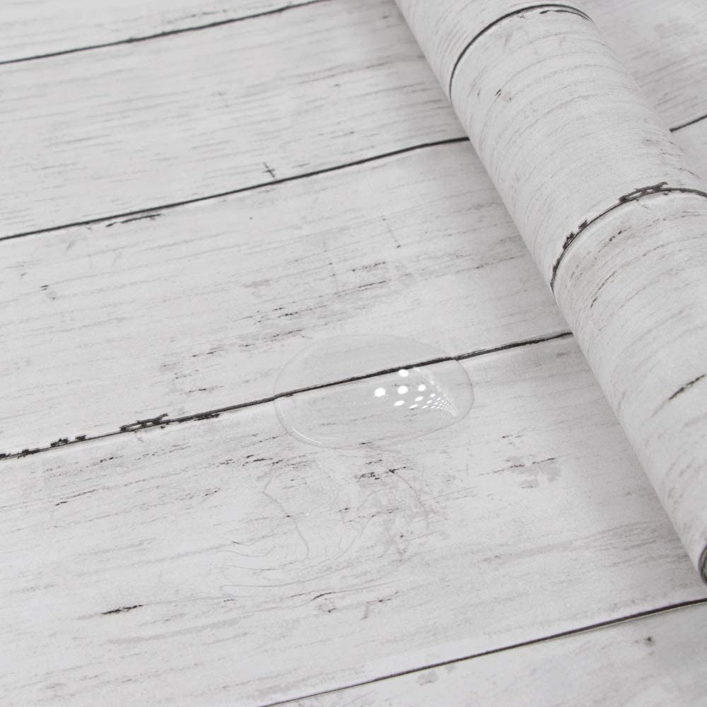 Hode White Wood Grain Effect Paper Self Adhesive Wallpaper Peel And Stick 45x300cm Wood Removab White Wood Wallpaper How To Waterproof Wood Wallpaper Furniture