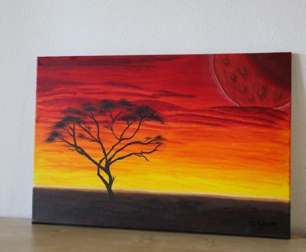 Acrylmalerei Akazie Im Sonnenuntergang Leinwan Ein